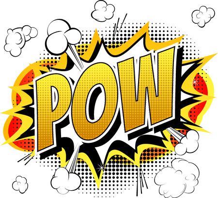 cartoon superhero: Pow  Comic book cartoon expression isolated on white background.