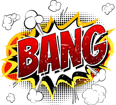 Bang  Comic book cartoon explosion isolated on white background. Vector