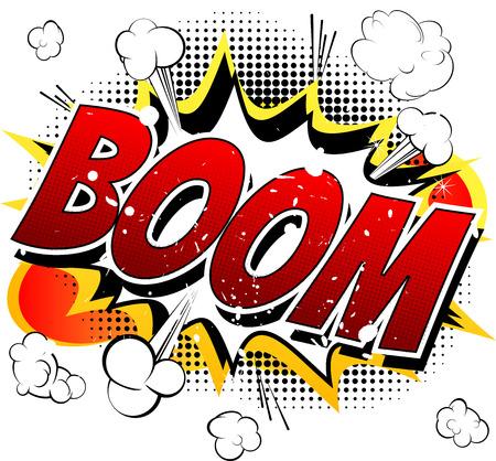 peligro: Boom Explosión del cómic de dibujos animados aislado en el fondo blanco