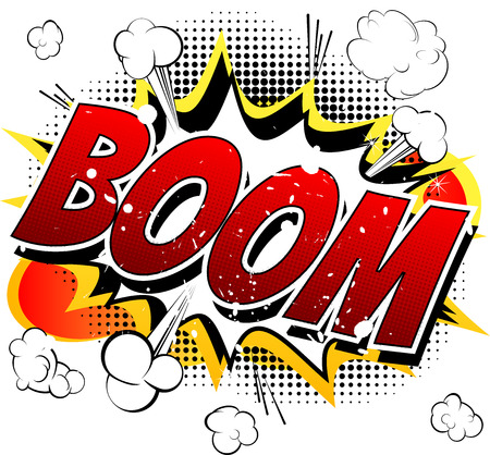 Boom  Comic book cartoon explosion isolated on white background