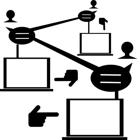 Illustration of people network with blank laptop monitor for your text. Vector
