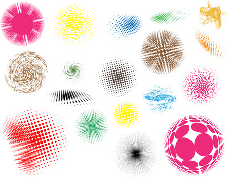 Set of abstract halftone effects isolated on white background.