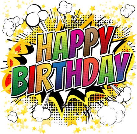 glücklich: Alles Gute zum Geburtstag Comic-Stil-Karte isoliert auf weißem Hintergrund.