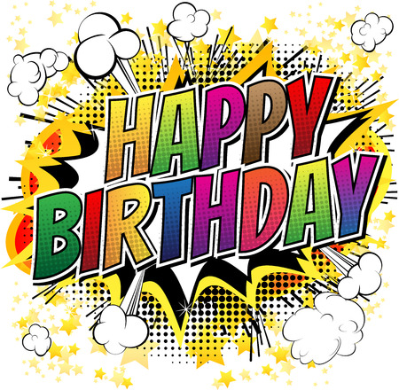 Happy Birthday  Comic book style card isolated on white background. Vettoriali