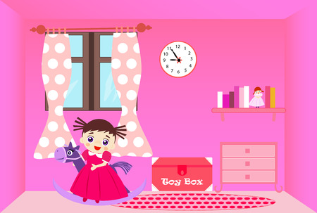toy chest: Smiling little girl riding rocking horse in her pink room. Illustration