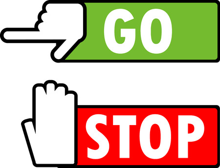 Go and stop navigation signs. 矢量图像