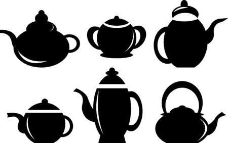 coffee pot: Set of coffee pot kettles isolated on white background.