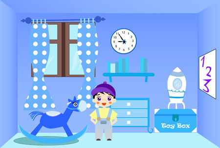 toy chest: Smiling little boy standing in his blue room. Illustration