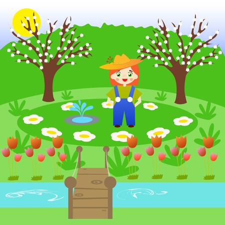 environmentalist: Little gardener in a flower garden