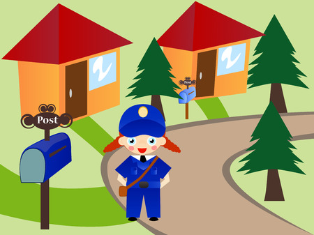 residential tree service: Cute post girl delivering the letters. Illustration