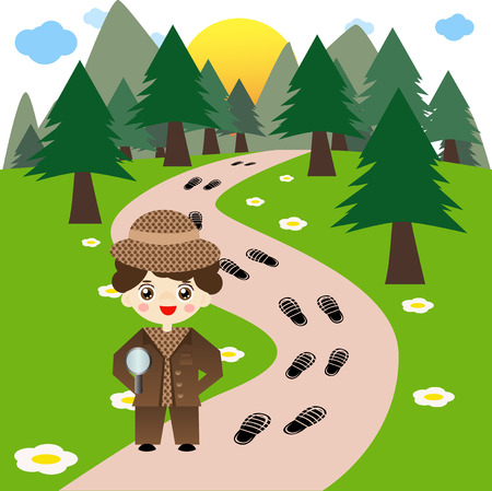 following: Little cute boy detective following footsteps in forest. Illustration