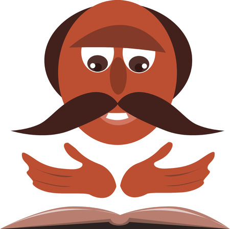 sermon: A priest with mustache reading from the bible.