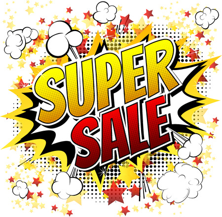 Super sale  Comic book style word isolated on white background. Vectores