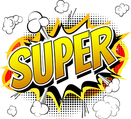 Super  Comic book style word isolated on white background. Vectores