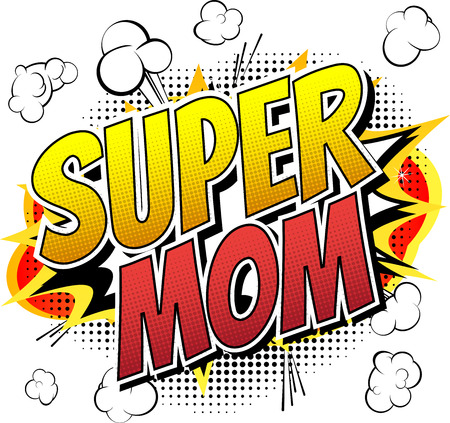 Super mom  Comic book style word isolated on white background. Çizim