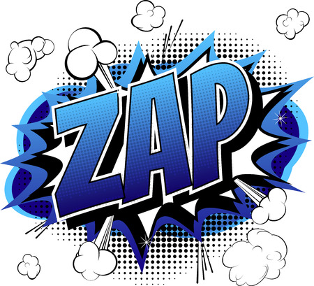 zap: Zap  Comic book cartoon expression isolated on white background.