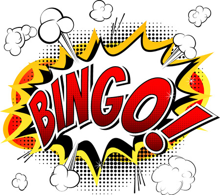 best book: Bingo  Comic book style word isolated on white background.