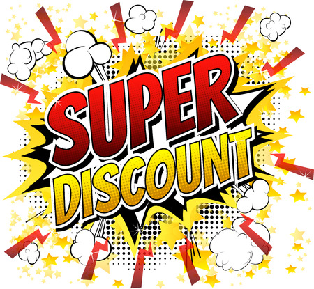 Super discount  Comic book style word isolated on white background. Vectores