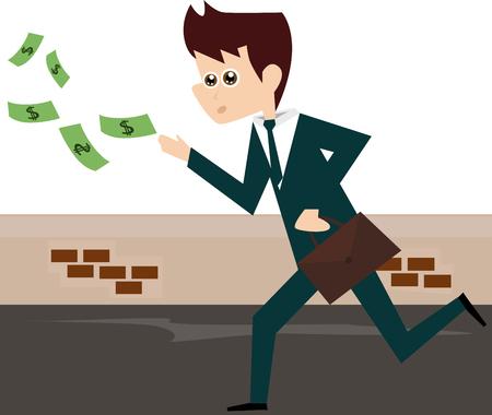 flying money: Empresario de dibujos animados corriendo despu�s de volar cuentas de dinero.