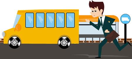 cartoon bus: Cartoon businessman trying to catch the bus.