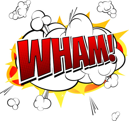 Wham  Comic book cartoon expression isolated on white background.