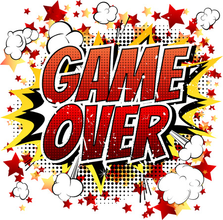 unsuccess: Game over - Comic book, cartoon expression isolated on white background.