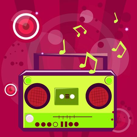 Pop music background with musical note and retro casette player. Vectores