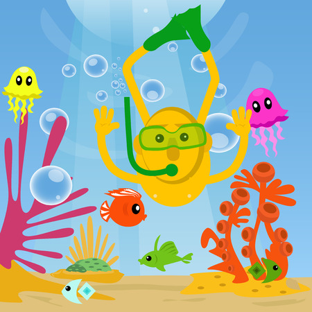 under sea: Man diving under sea and swimming with fishes.
