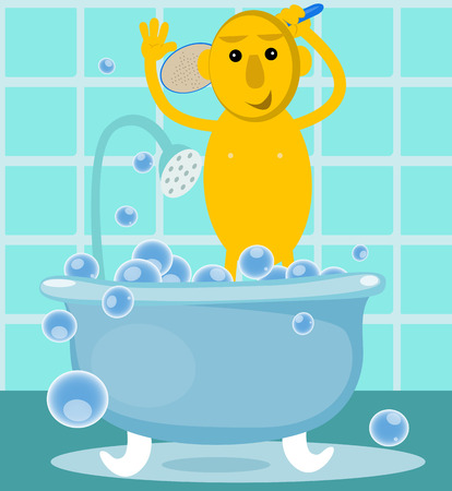 pampering: Man taking a shower in the new bathroom. Illustration