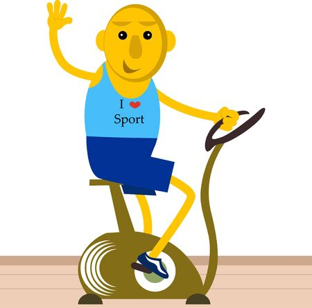 gym dress: Cute man riding on stationary bicycle in a room. Illustration