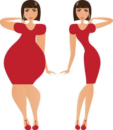 red dress: Vector illustration of fat and thin woman.