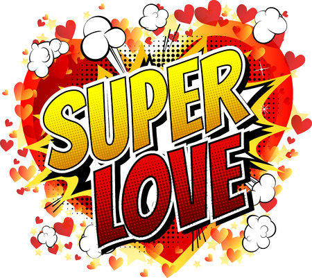 Super Love - Comic book style word isolated on white background. Stock Illustratie