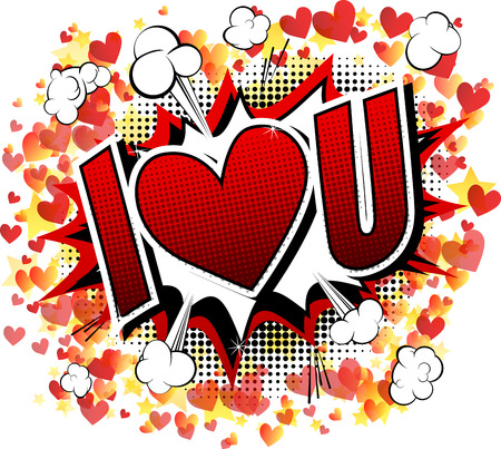 I Love You - Comic book style word isolated on white background.