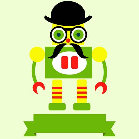 robot toy: Retro robot toy icon and illustration  with ribbon. Illustration
