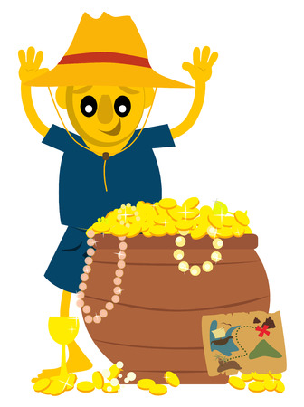 Young explorer found a chest with full of gold. Illustration