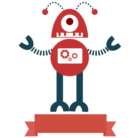 retro robot: Retro robot toy icon and illustration  with ribbon. Illustration