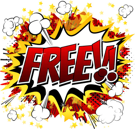 Free - Comic book style word isolated on white background.