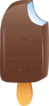 wooden stick: Vector illustrated chocolate ice cream bar on a wooden stick.
