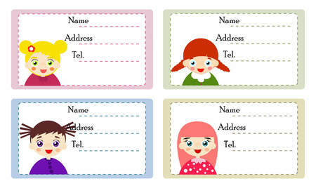 blank tag: Vector illustrated set of cute girl with name labels. Illustration