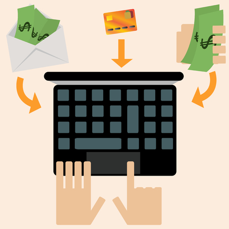 methods: illustrated online shopping with three payment methods Illustration