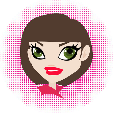 lips close up: Vector illustration of an pretty woman with polka background.