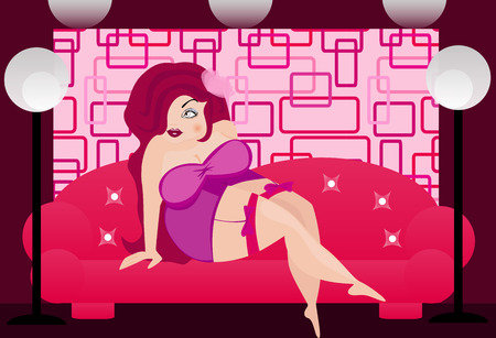 romance bed: illustration of a sexy fat woman