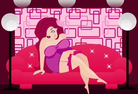 letti: illustrazione di una donna grassa sexy