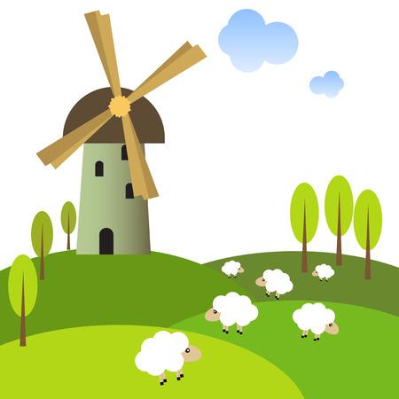 羊と静かな草原の風車のイラスト  イラスト・ベクター素材