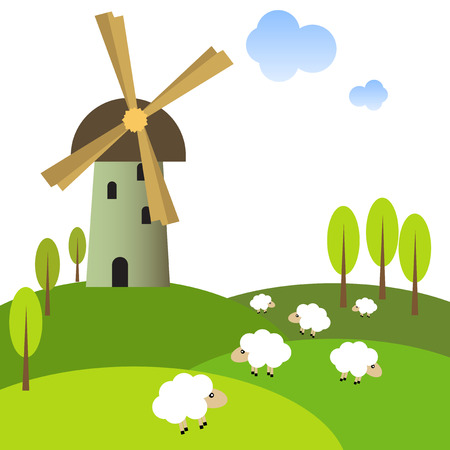 Illustration of a windmill on peaceful meadow with sheep