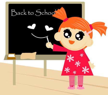 september 1: Little girl writing back to school text on blackboard.