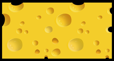 edibles: Vector illustrated piece of cheese isolated on black background.