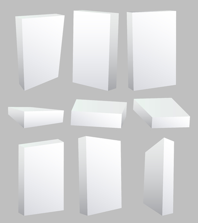 white boxes: Set of vector illustrated white, blank boxes. Illustration