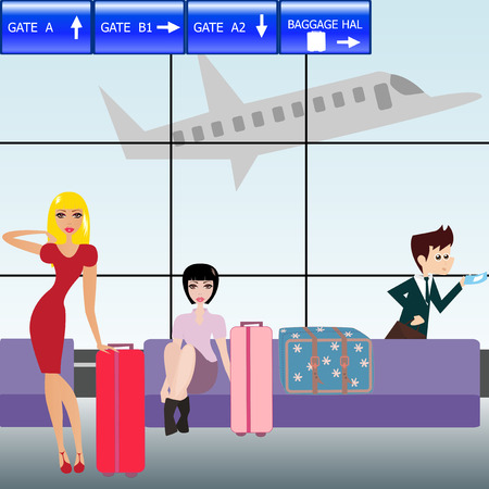 bench alone: Business man and pretty women waiting in the hall on the airport. Illustration