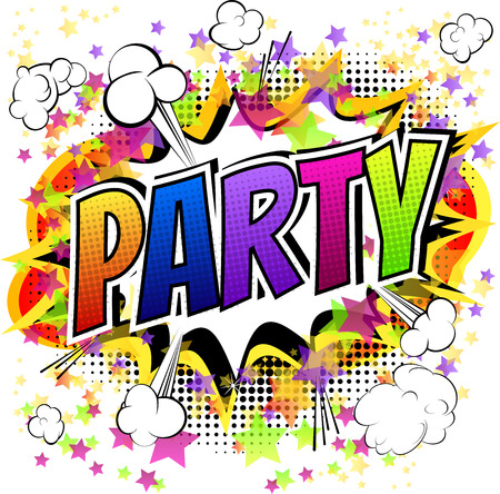 Party - Comic book style card isolated on white background.